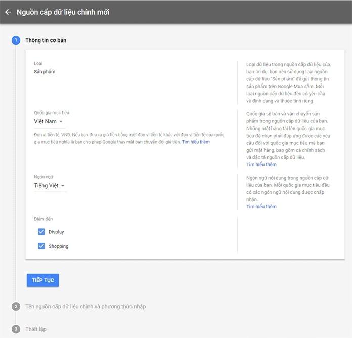 Điền thông tin nguồn cấp Google Merchant Center