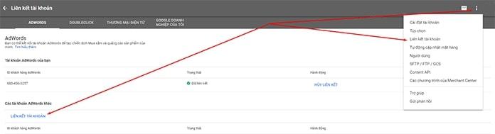 Liên kết tài khoản Google Merchant Center 1