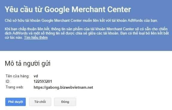 Liên kết tài khoản Google Merchant Center 4
