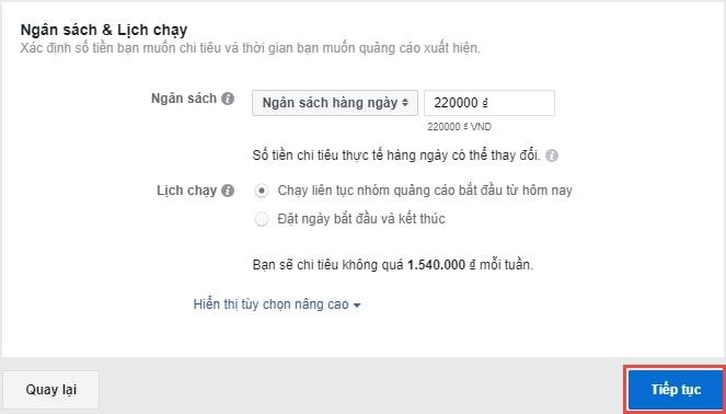 Chọn ngân sách Facebook Ads