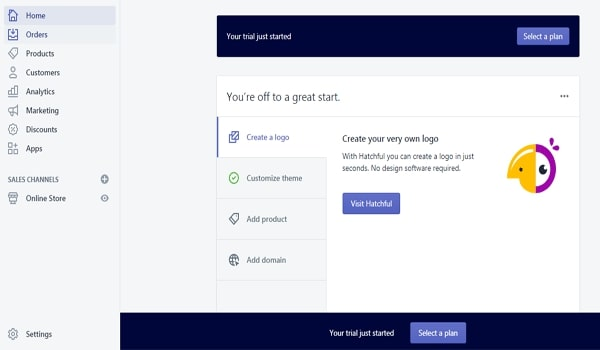 Tạo tài khoản Shopify