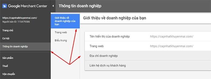 Thiết lập Google Merchant Center